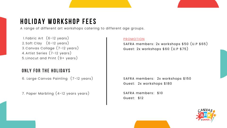 June Holiday Workshop Fees