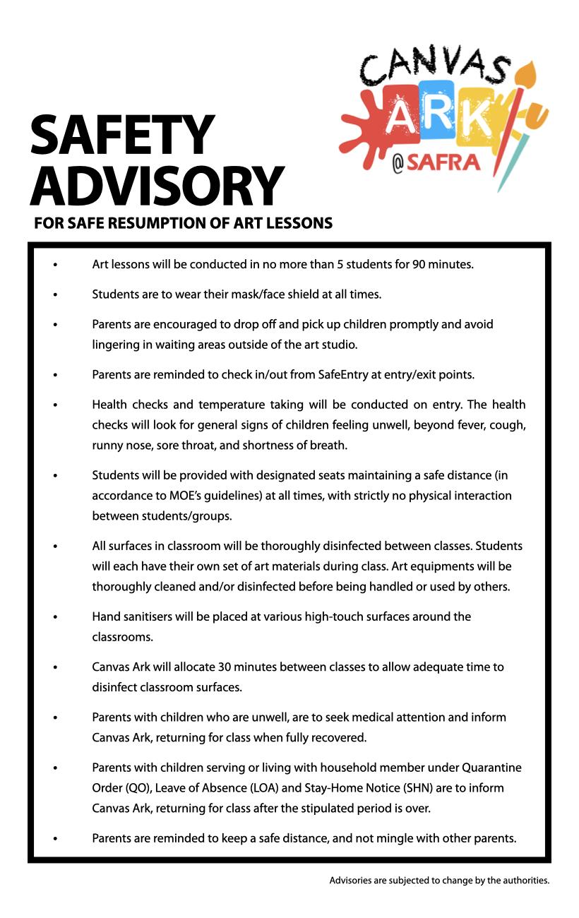 Safety advisory - Arts for Kids WEBSITE.001